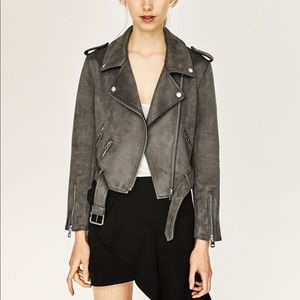 ZARA Suede Moto Leather Effect Jacket